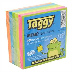 POST-IT CUBO TAGGY 75X75 300FF NEON ASS TAGGY