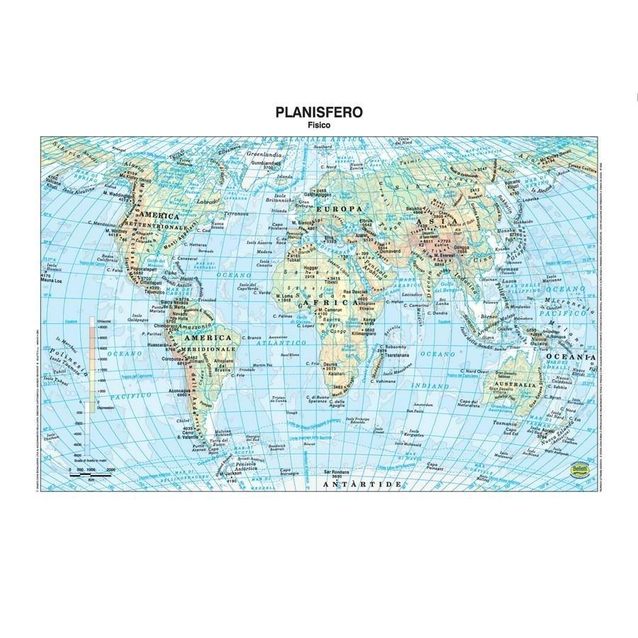 Cartina Giografica.Cartina Geografica Plastificata Mondo Belletti Carte Geografiche Minerva 2000