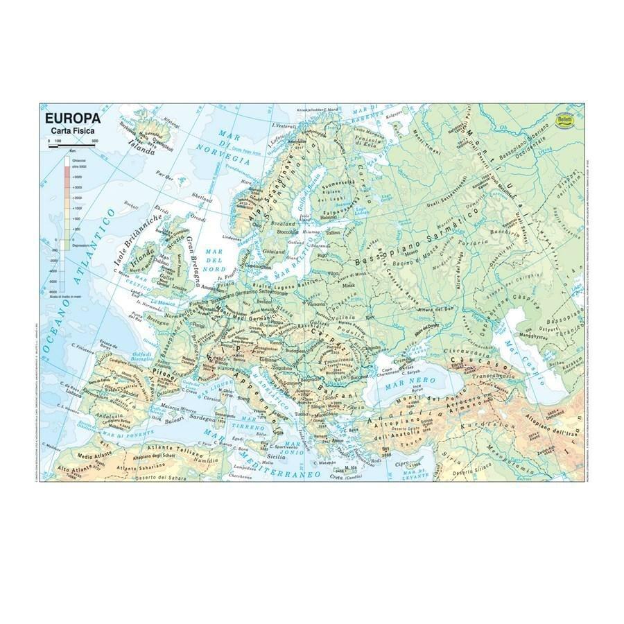 Cartina Politica Muta Dell Europa.Cartina Geografica Plastificata Europa Belletti Carte Geografiche Minerva 2000