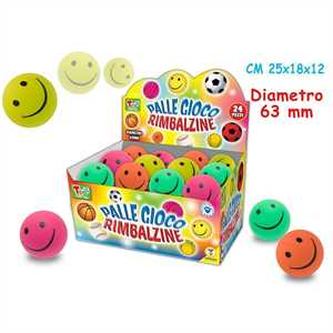 PALLINE RIMBALZINA  SMILE           PLAY DIAMETRO 63MM